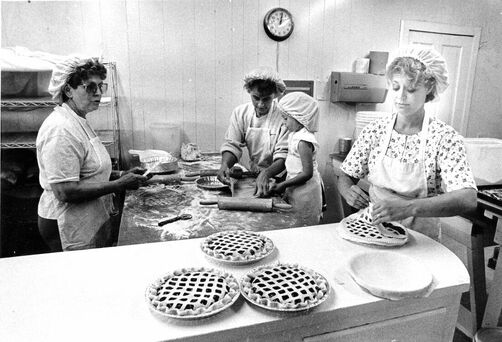 Lou, Becky and Laura Crane make pies
